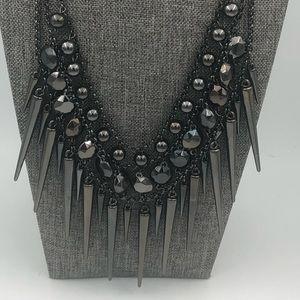 Spike Fringe Bib Necklace Collar Gunmetal Tone